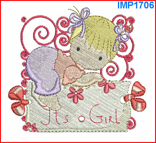 BABY GIRL BLOCKS 12 MACHINE EMBROIDERY DESIGNS 2 SIZES