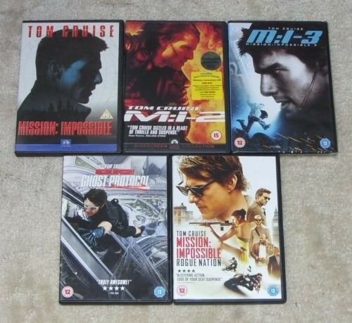 Mission Impossible 1 - 5 DVD Bundle / Collection Ghost Protocol & Rogue Nation