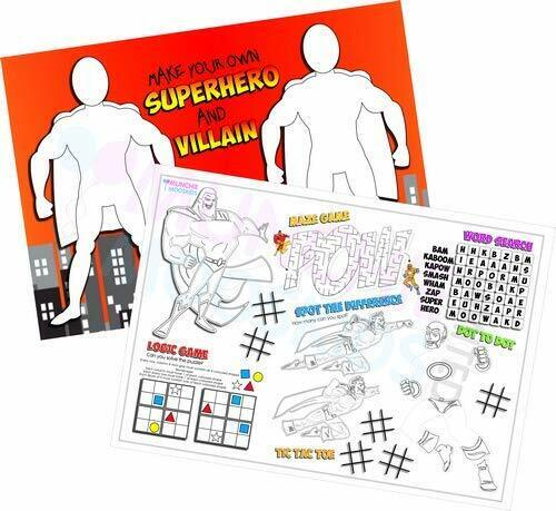 Pack of 12 - A4 Superhero Party Placemat Tabletop Activity Sheets - Bag Fillers