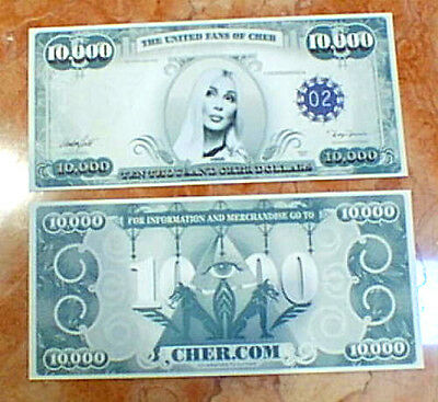 CHER $10,000 DOLLAR BILL FROM FAREWELL CONCERT HOLLYWOOD BOWL