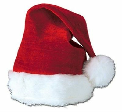 Red Plush Christmas Santa Hat Kids Children Size Fits Most Ages (3-12)