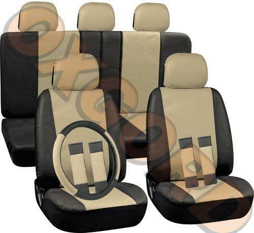 beige leather car seat covers ebay. Black Bedroom Furniture Sets. Home Design Ideas