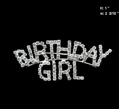 """Clear Rhinestone """"BIRTHDAY GIRL"""" Brooch Pin"""