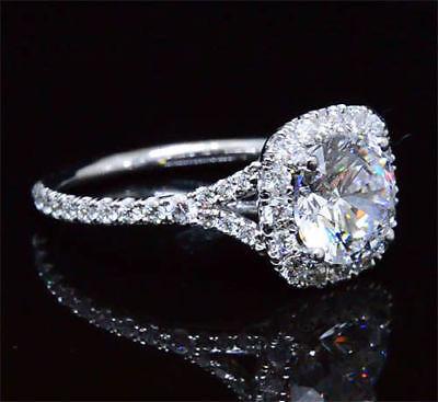 18K WG 1.90 Ct Round Cut Diamond Halo Baby Split Shank Engagement Ring E,VS2 GIA 2