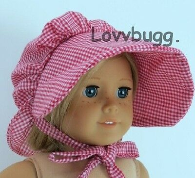 "Lovvbugg Red Bonnet for Any Pioneer 18"" American Girl Doll Clothes Kirsten Addy Josefina"