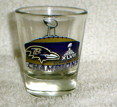Baltimore Ravens SUPER BOWL 47 XLVII Champions Champs SHOT GLASS Baltimore Ravens Super Bowl Champions