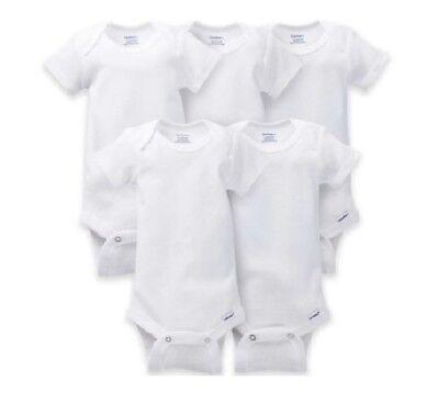 Gerber Bonus 5-Pack Unisex Short Sleeve White Onesies BABY CLOTHES SHOWER GIFT 5 Pack White Onesies