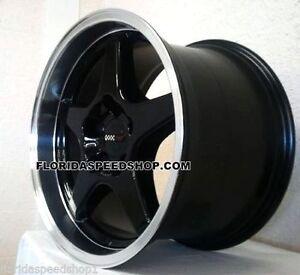 C4 ZR1 Black/machined Corvette Wheels Rims  (2) 17x11