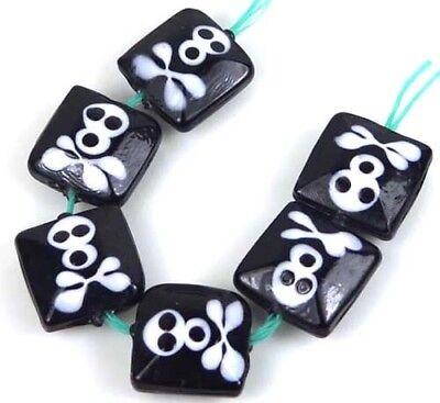 Glass Halloween Beads (16mm Lampwork Handmade Glass Skull Square Halloween Beads)