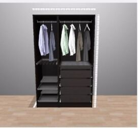 Ikea PAX open wardrobe system with lots of extras 125cm wide / 200cm high