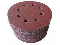 "Sanding Discs Sandpaper 5"" 125mm 36-240 Varnish Plastic Wood 8 HOLES x50"