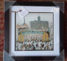 "L S Lowry V E Day Celebration print double mounted glass black wood frame 18"""