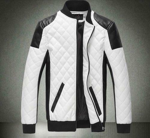 Mens white leather motorcycle jacket