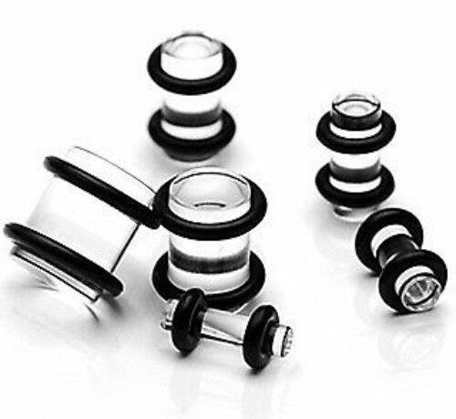 P#154 - 12pcs Clear Acrylic Plugs - 00g,0g,2g,4g,6g,8g
