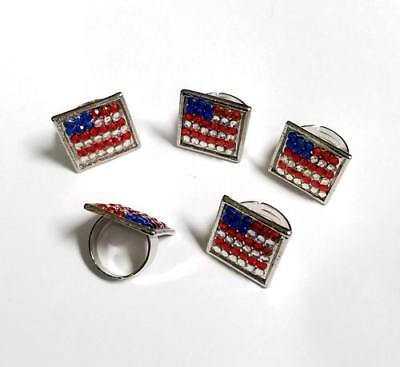 Patriotic Rings (Lot of 24 Pieces - Patriotic USA Rhinestone Bling Rings - Adjustable to fit)