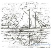 Sailboat Rubber Stamp