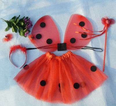 US Kids Girls Party Costume Ladybug 4Pcs Set(Fairy Wings+Skirt+Headband+Wand) ym