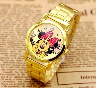 Unusual Minnie Mouse Adult Gold Stainless Steel Watch