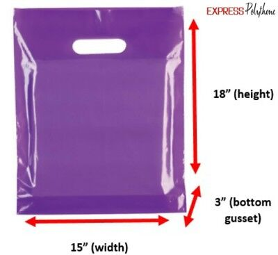 PURPLE PLASTIC BUDGET SHOPPING CARRIER BAGS 15