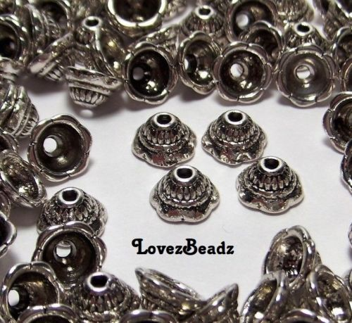 JEWELRY WHOLESALE LOT OF 20 SILVER TONE ORNATE BEAD BELL CAPS-4.5x8mm-FINDINGS