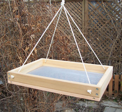 "Large 16"" Cedar Platform Hanging Scr Bird Feeder, w/Nylon Ropes"