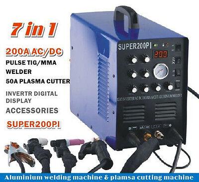 Igbt 200a Acdc Pulse Tigmma Aluminium Welder 50a Plasma Cutter Welding Machine