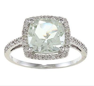 10k Weiss Gold Kissen Grün Amethyst und Diamant Ring (1/4 Tdw ) ()