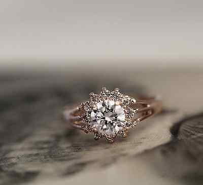 Antique Style 18K Rose GOLD Filled Swarovski Crystal Ring Vintage Look 1ct