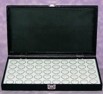Traveling Wood Display Case With 50 White Gem Jars