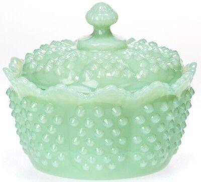 Covered Butter Tub Bowl Hobnail Gigi Jade Jadite Jadeite Green Glass Mosser USA