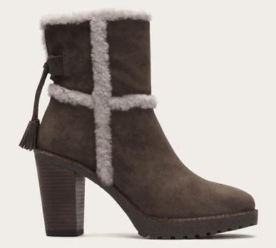 Frye Jen Shearling Short Suede Boots  Smoke  Gray  Size 9 5  List  398