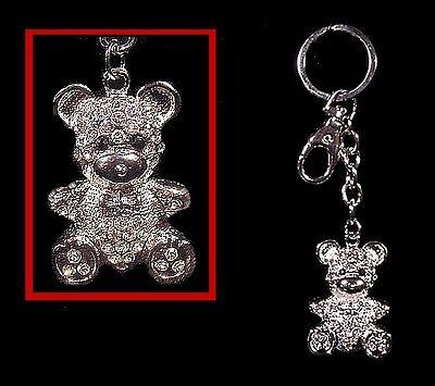 Crystal Diamond Teddy BEAR  KEYCHAIN Key Ring - Diamond Ring Keychain