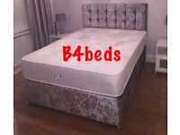 Double Silver Grey Crush Velvet Divan Bed with Orthopaedic Mattress & Diamond Headboard