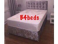 Double Silver Grey Crush Velvet Divan Bed with Orthopaedic Mattress & Diamond Headboard