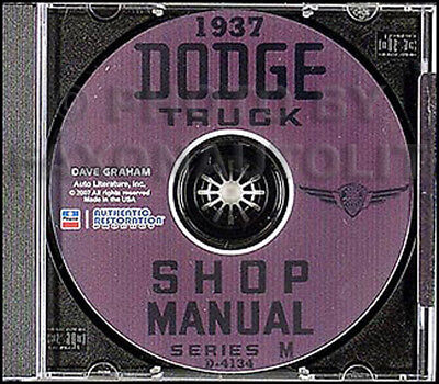 1937 Dodge Pickup and Truck Shop Manual on CD Repair Service