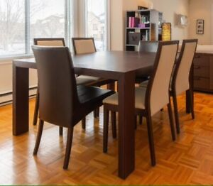 Birch wood Square table with 4 chairs - Calligaris