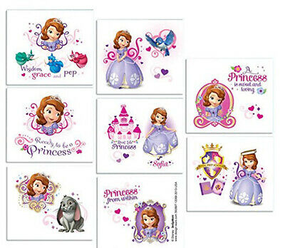 PRINCESS SOFIA THE FIRST temporary TATTOOS Birthday Party Favors supplies 16pcs