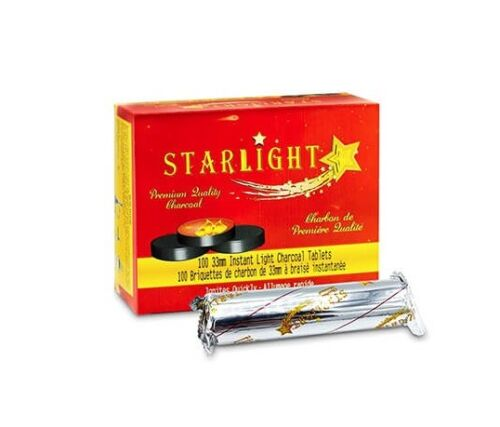 STARLIGHT Charcoal 33 mm Premium Hookah Incense Round Charcoal Coals 100 Count