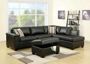 2 PC FAUX LEATHER OR CHENILLE FABRIC REVERSIBLE SECTIONAL $998