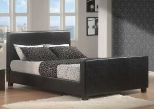 Faux leather queen bed frame in black