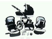 Travel set from birth designed by Twing magic dino 3 in 1 pram/pushchair. Newest edition
