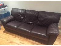 3 seat brown leather sofa