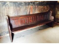 Large Vintage Solid Victorian Church Pew Settle 7ft 6