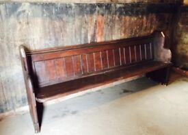 Large Solid Wood Antique Church Pew 7ft 6 inches