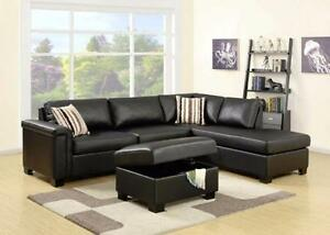 2 PC FAUX LEATHER OR CHENILLE FABRIC REVERSIBLE SECTIONAL $1098