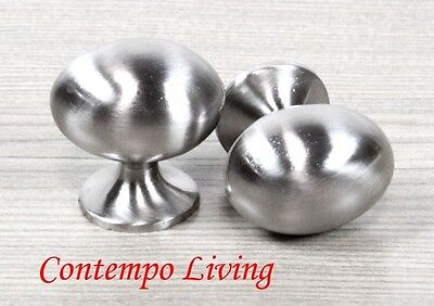 Solid Oval Stainless Steel Finish Kitchen Cabinet Pull Knob Hardware Handle