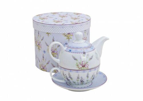 Tee Set Tea for one Porzellan Lavendel Dekor + Geschenkbox Wellness für Zuhause