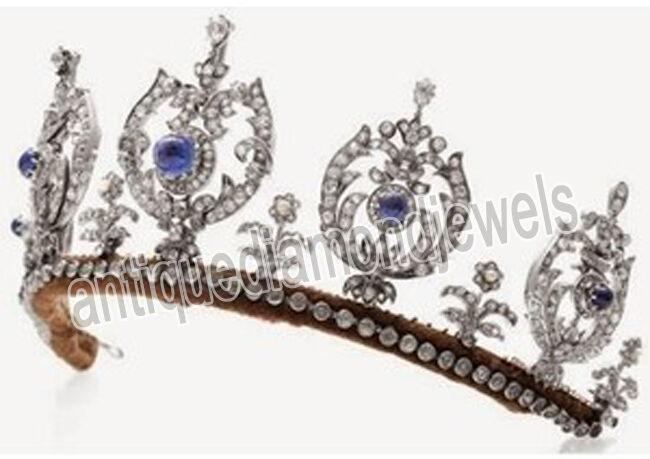 14.70ct Rose Cut Diamond Antique Look 925 Silver Wedding Sapphire Gemstone Tiara