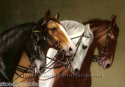Horse Cross Stitch - Four Horses ~ DIY Counted Cross Stitch Pattern