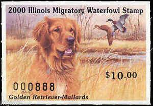 ILLINOIS-26-2000-STATE-DUCK-STAMP-GOLDEN-RETREIVER-MALLARD-by-Jim-Killen